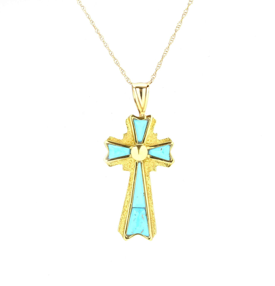 Turquoise cross set in 18kt gold pendant. Ben Nighthorse-Turquoise Cross Pendant-Sorrel Sky Gallery-Jewelry