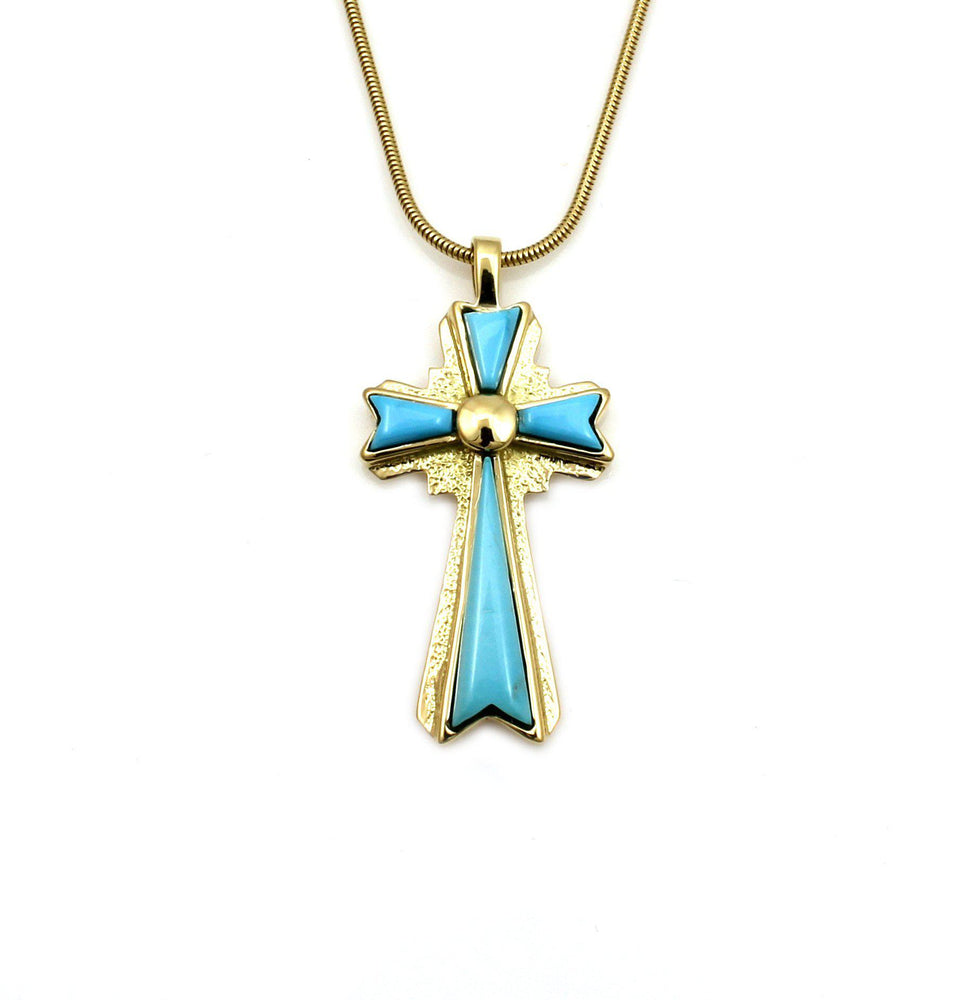 Turquoise Gold Cross Pendant