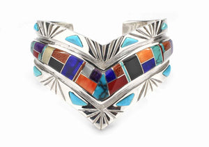 Ben Nighthorse-Sorrel Sky Gallery-Jewelry-V with Etching Cuff Bracelet