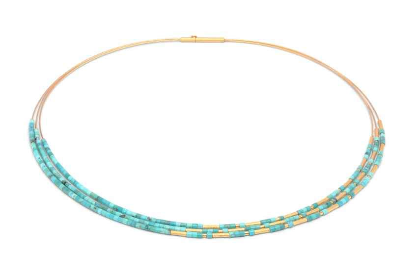 "Turquoise Necklace on Sterling Silver wire with fine gold overlay, 17"" long."
