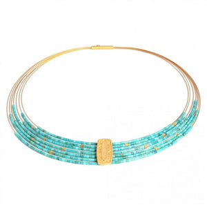 "Turquoise Necklace in Sterling Silver with fine gold overlay. 17"" long."