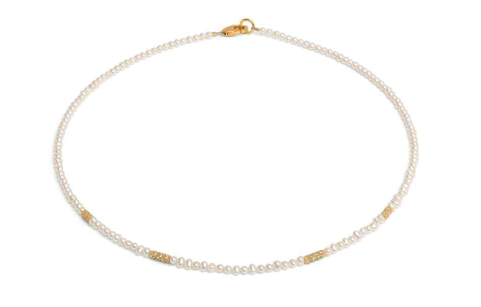 "Freshwater Pearl Bead Necklace strung on sterling silver wire with fine gold overlay, 17"" long."