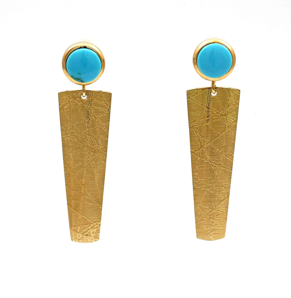 18K Gold Textured Dangle Earrings with Turquoise