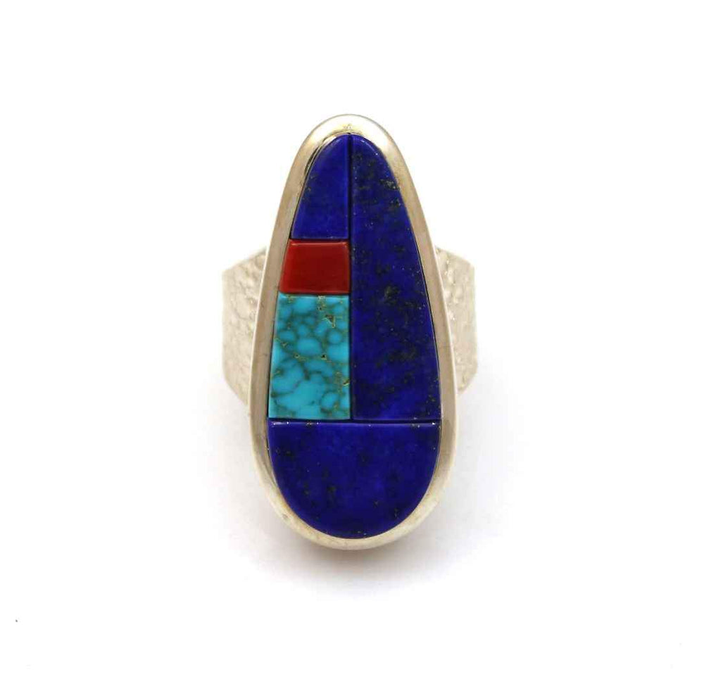 "Sterling silver with lapis, coral and Lone Mnt turquoise. 1 1/4"" x 1/2"", size 7 3/4"