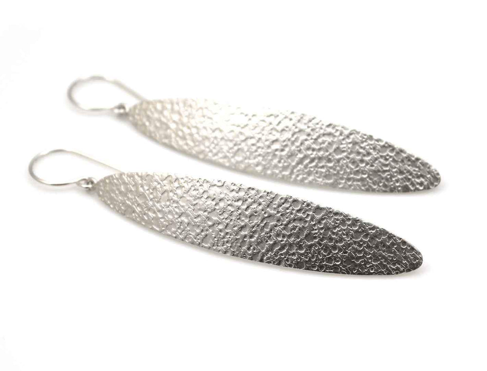 Long Oval Crater Texture Earrings