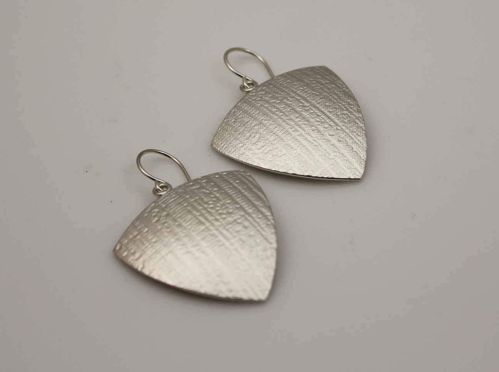 Trillion Canvas Texture Earrings in Sterling Silver.