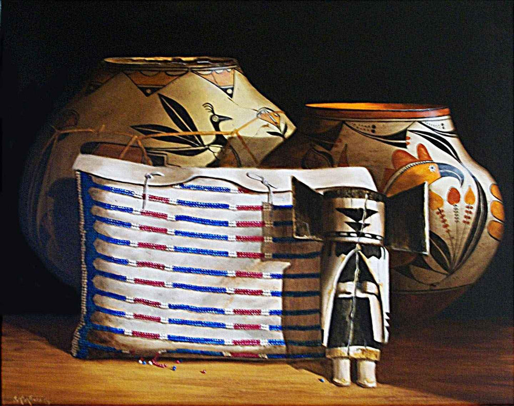 Chuck Sabatino-Sorrel Sky Gallery-Painting-1830 Sioux Storage Bag