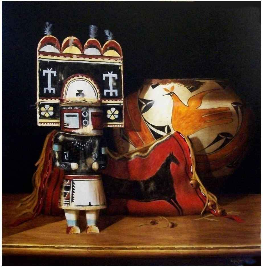 Painting of a 1920 Sio Hemis Kachina with a Hopi Pot by Chuck Sabatino at Sorrel Sky Gallery.