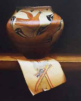 Painting of a 1920 Zia Pottery Bowl And Indian Drawing. Historical Art. Chuck Sabatino. Sorrel Sky Gallery