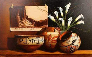 Chuck Sabatino-Sorrel Sky Gallery-Painting-Canyon De Chelly And Calla Lillies