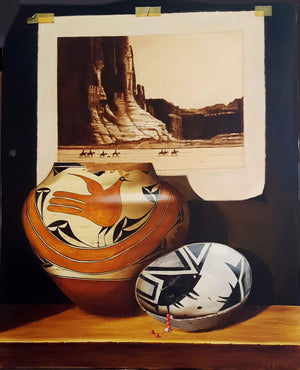 "Canyon De Chelly And Pottery painting by Chuck Sabatino at Sorrel Sky Gallery.  30"" x 24"""
