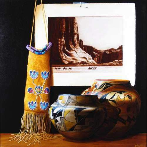 Chuck Sabatino-Sorrel Sky Gallery-Painting-Crow Tobacco Bag & Curtis Photo Canon De Chelly