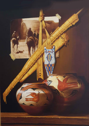 "Painting of 2 Hopi pots and E.S. Curtis's ""The Vanishing Race"" by Chuck Sabatino at Sorrel Sky Gallery in Durango, CO"