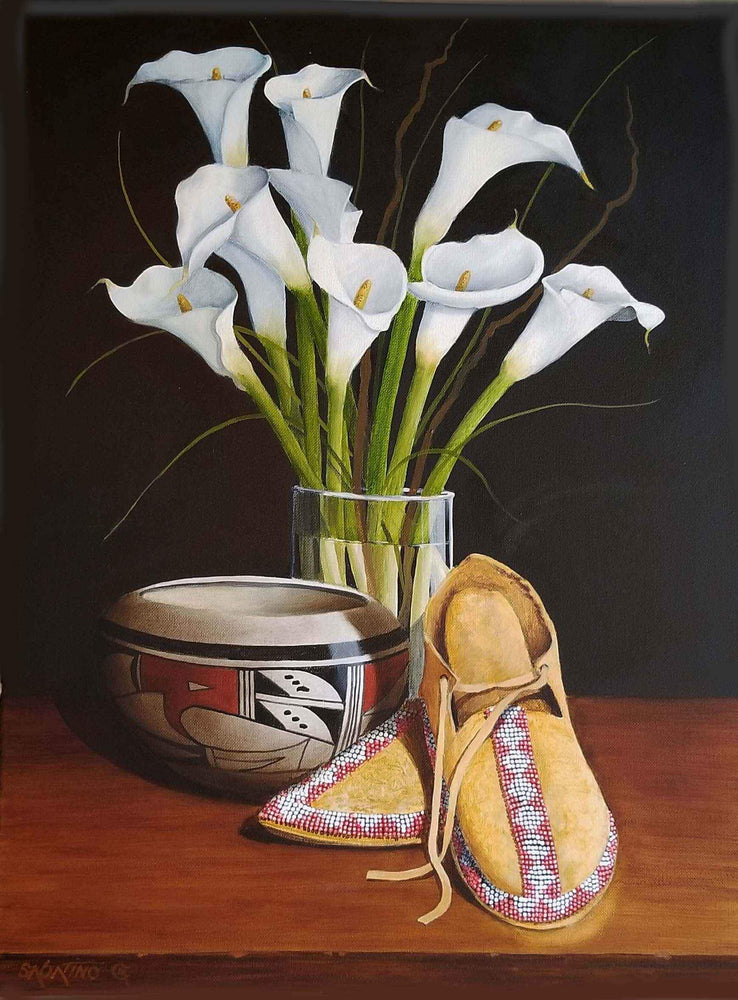 Lilies And Moccasins Painting. White Calla lilies, Native American Moccasins with a Native American Pot by Chuck Sabatino. Sorrel Sky Gallery