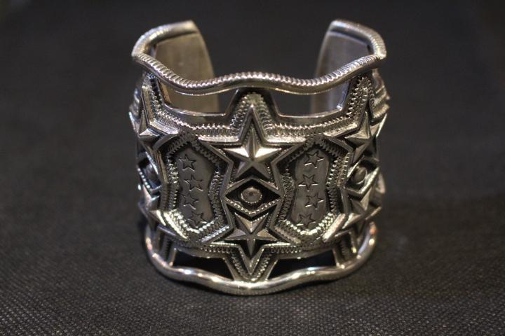 2 Row Wide Sheriff Star Bracelet