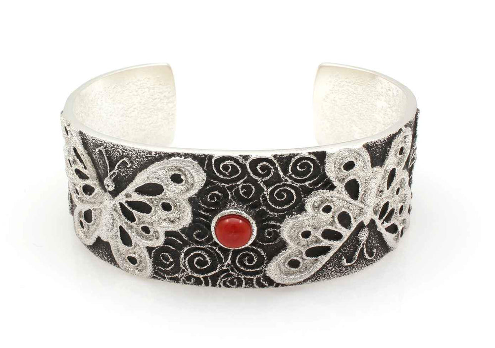 Butterfly Cuff Bracelet with Coral