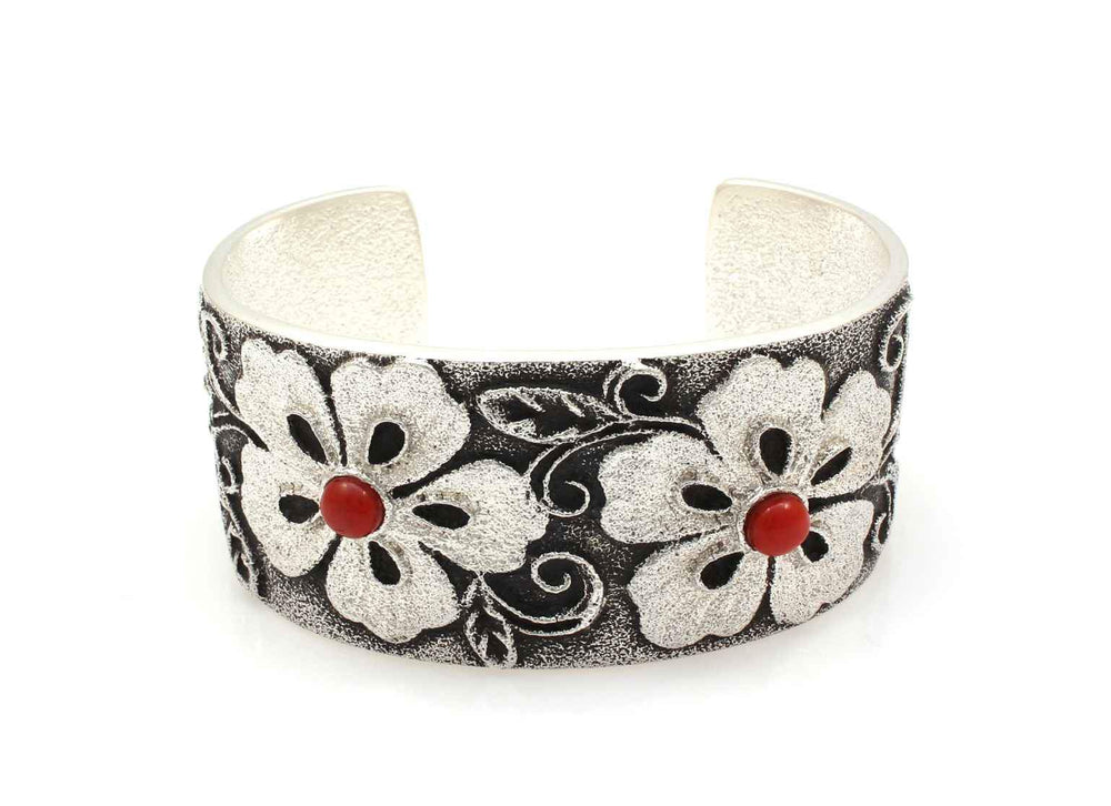 Floral Cuff Bracelet with Coral