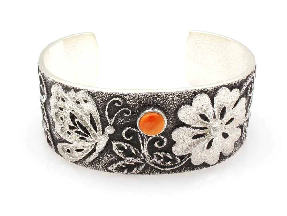 Floral Cuff Bracelet with Spiny Oyster