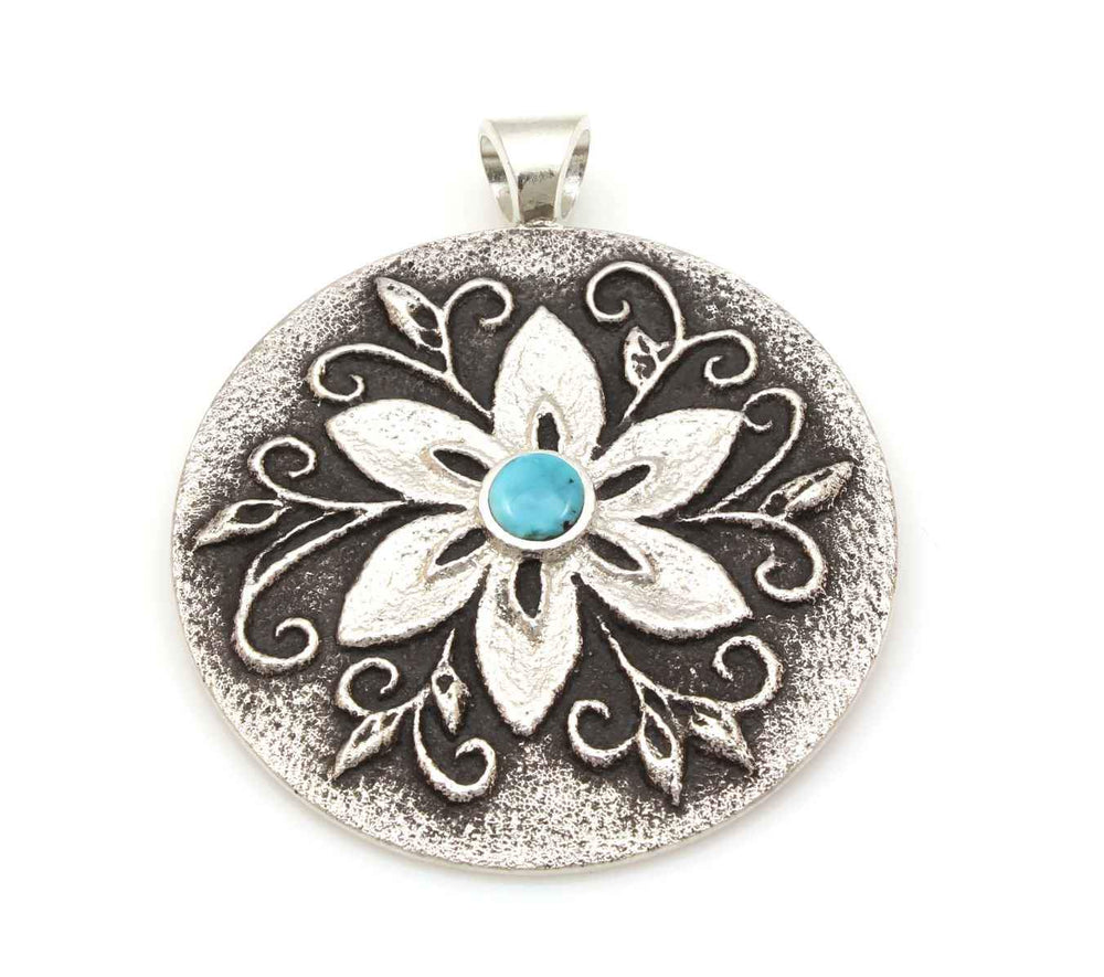 Round Floral Pendant With Turquoise