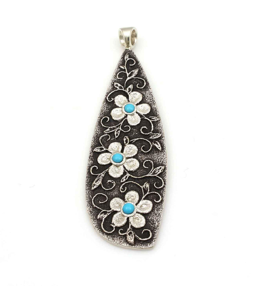 Teardrop Floral Pendant with Turquoise