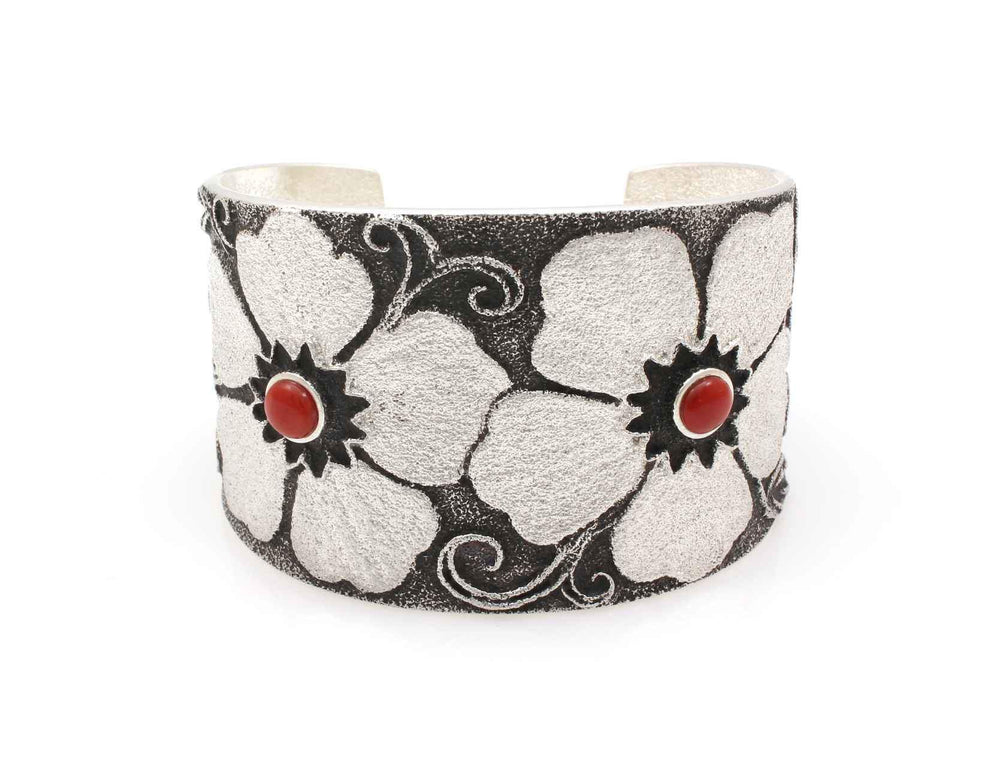 Wide Floral Cuff Bracelet with Coral-Jewelry-Darryl Dean & Rebecca Begay-Sorrel Sky Gallery