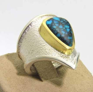Darryl Dean & Rebecca Begay-Sorrel Sky Gallery-Jewelry-Sterling Silver And 18kt Gold Ring
