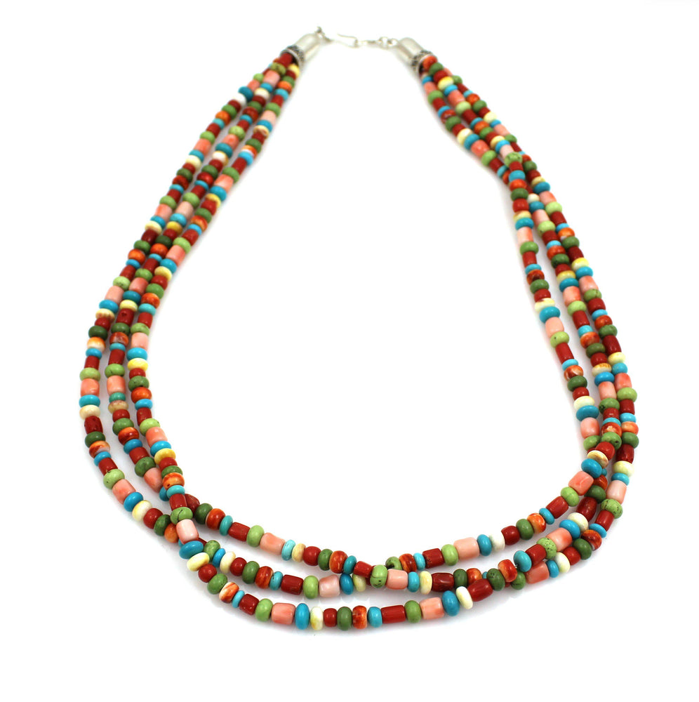 3 Strand Multi Stone Necklace