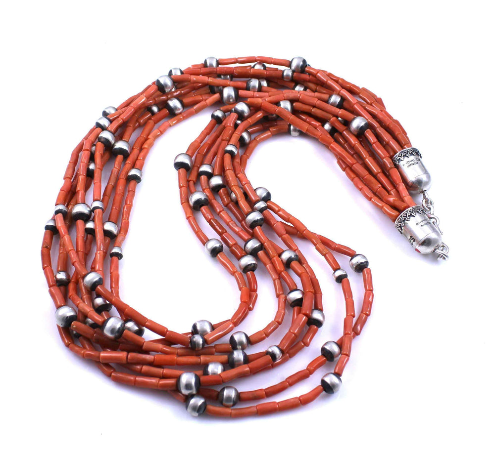 8 Strand Coral Necklace-Don Lucas-Sorrel Sky Gallery-Jewelry