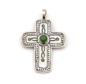 Chrysophase Cross Pendant-Jewelry-Don Lucas-Sorrel Sky Gallery