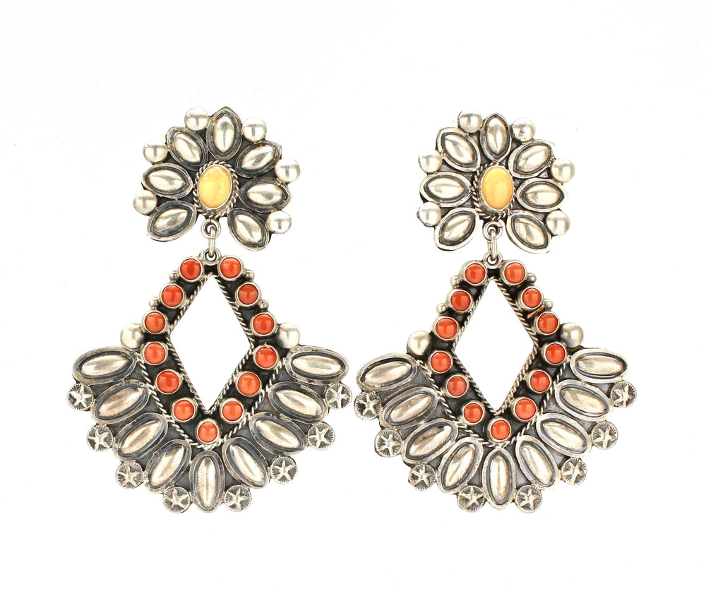 Coral Cluster Earrings-Don Lucas-Sorrel Sky Gallery-Jewelry