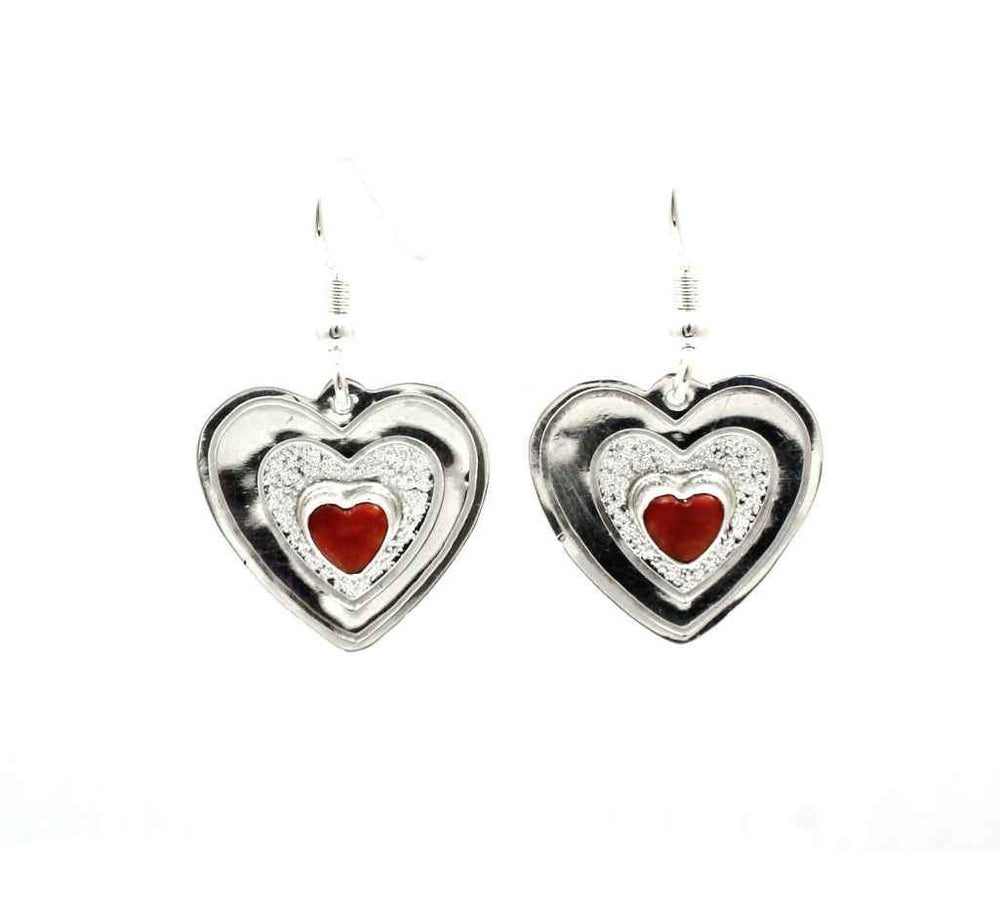 Coral Single Stone Heart Earrings