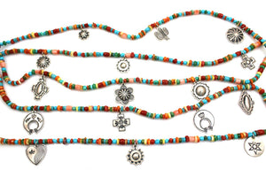 Five Strand Multi Stone Charm Necklace-Jewelry-Don Lucas-Sorrel Sky Gallery