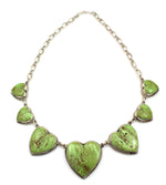Gaspeite Heart Link Necklace
