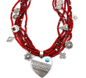 Heart Necklace on Six Strand Trade Beads-Jewelry-Don Lucas-Sorrel Sky Gallery