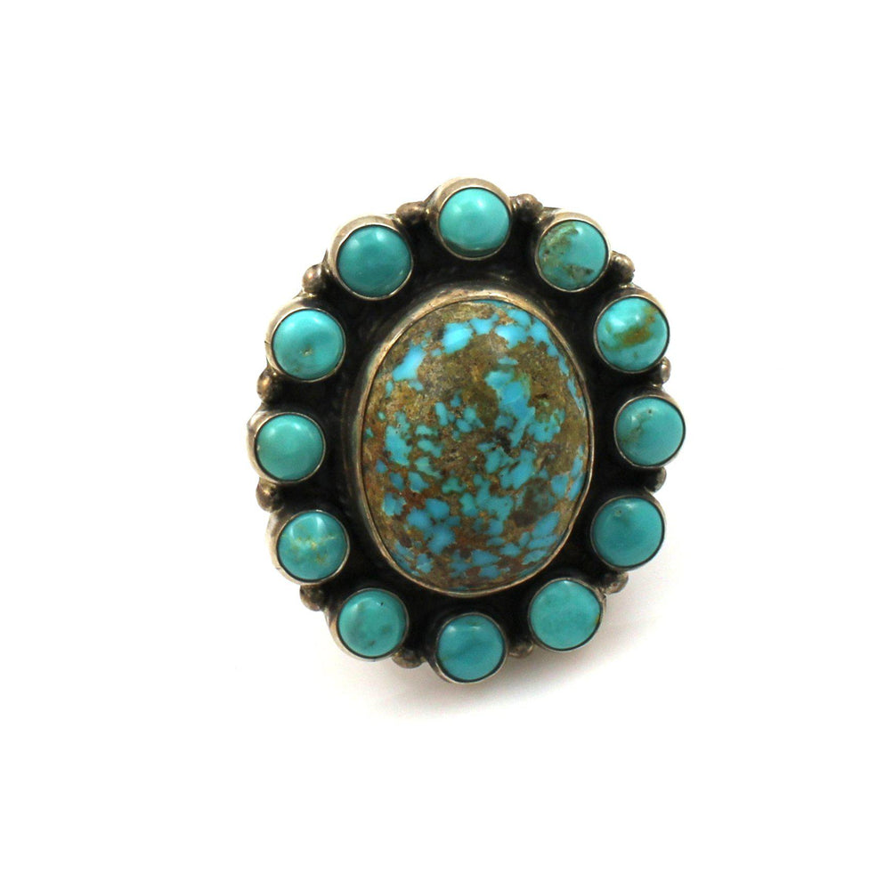 Kingman Turquoise Cluster Ring-Don Lucas-Sorrel Sky Gallery-Jewelry