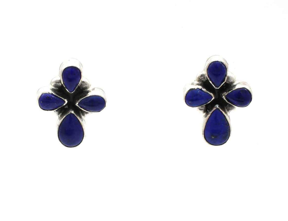 Lapis Cross Post Earrings