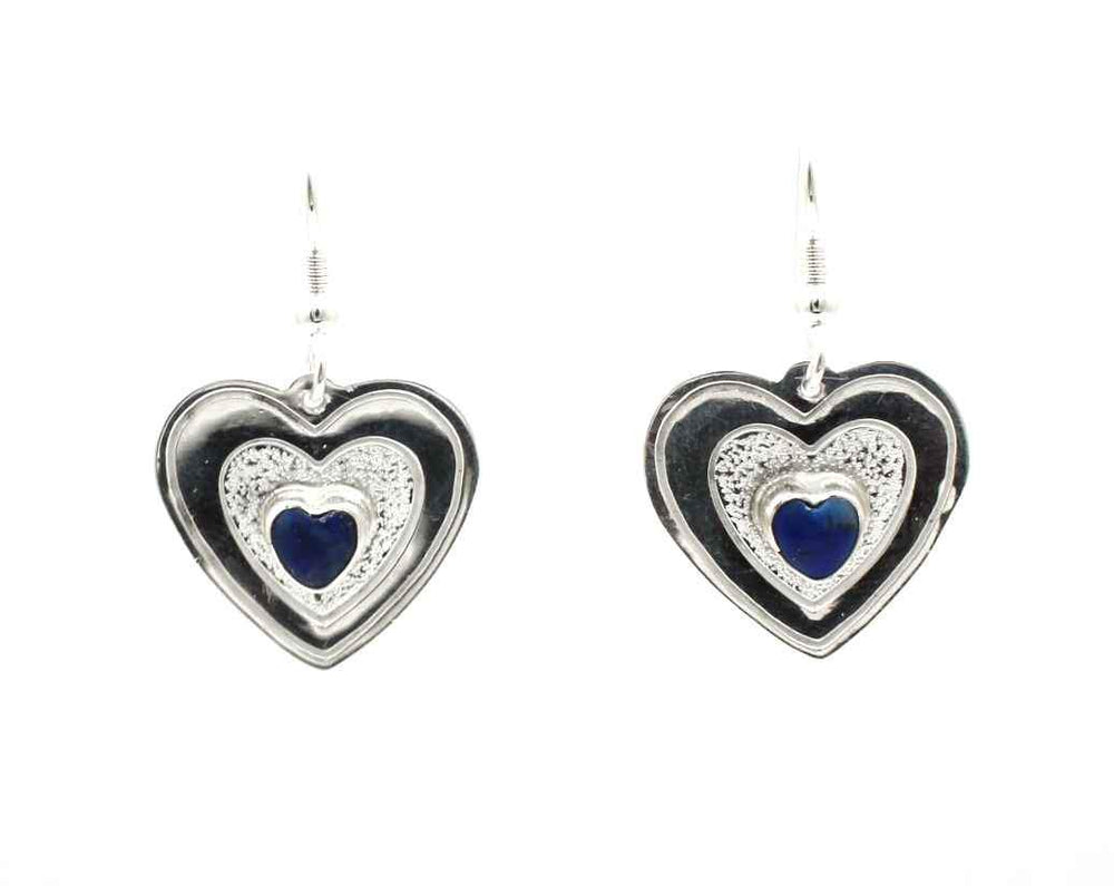 Lapis Single Stone Heart Earrings
