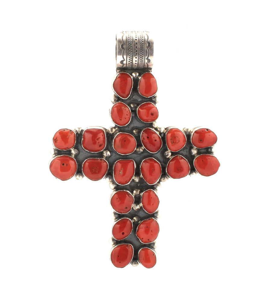 Large Coral Cross Pendant-Don Lucas-Sorrel Sky Gallery-Jewelry