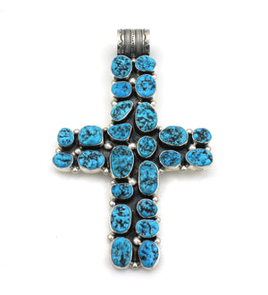 Large Turquoise Cross Pendant-Jewelry-Don Lucas-Sorrel Sky Gallery