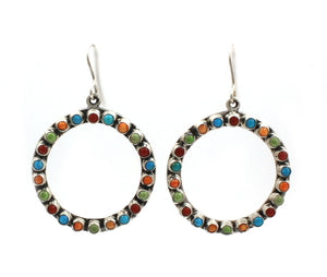 Multi Stone Circle Earrings-Jewelry-Don Lucas-Sorrel Sky Gallery