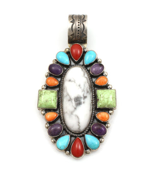 Multi Stone Cluster Pendant With Howlite-Jewelry-Don Lucas-Sorrel Sky Gallery