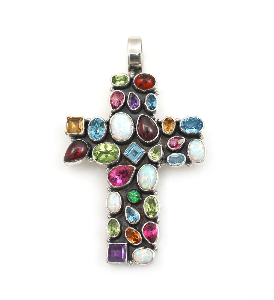 Multi Stone Cross Pendant