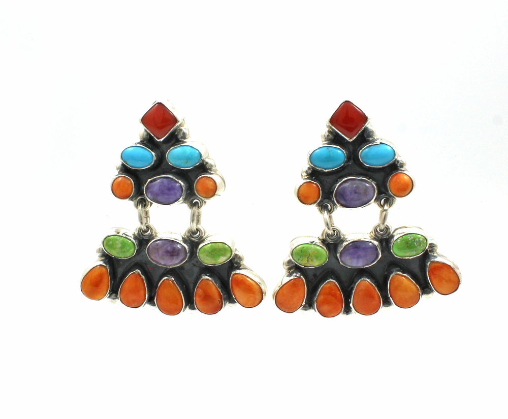 Multi Stone Drop Earrings