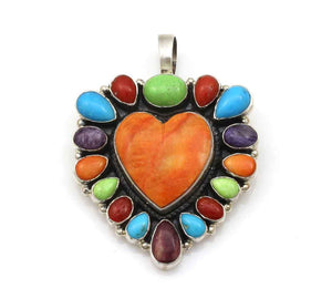 Multi Stone Heart Pendant-Jewelry-Don Lucas-Sorrel Sky Gallery