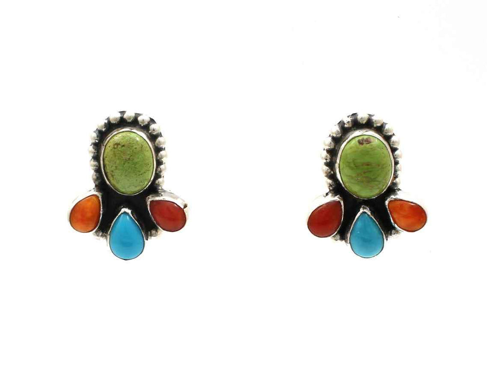 Multi Stone Post Earrings