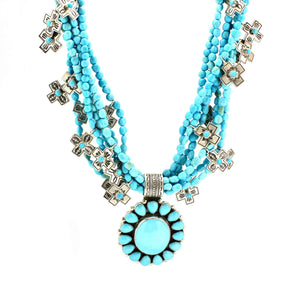Multi Strand Turquoise Necklace-Don Lucas-Sorrel Sky Gallery-Jewelry