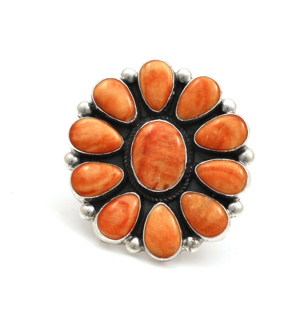 Orange Spiny Oyster Cluster Ring