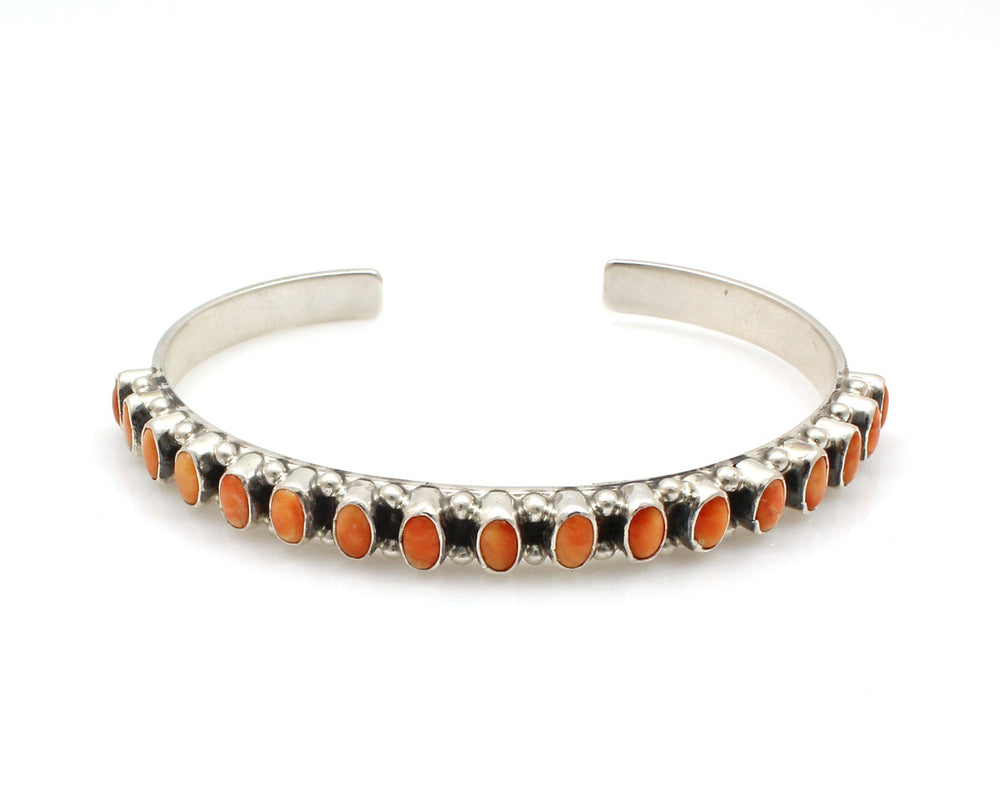 Orange Spiny Oyster Row Cuff Bracelet-Jewelry-Don Lucas-Sorrel Sky Gallery