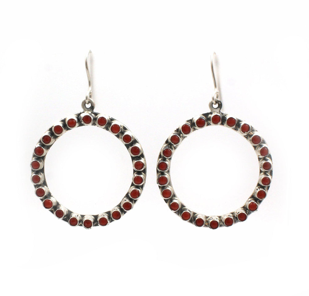 Red Coral Circle Earrings-Jewelry-Don Lucas-Sorrel Sky Gallery