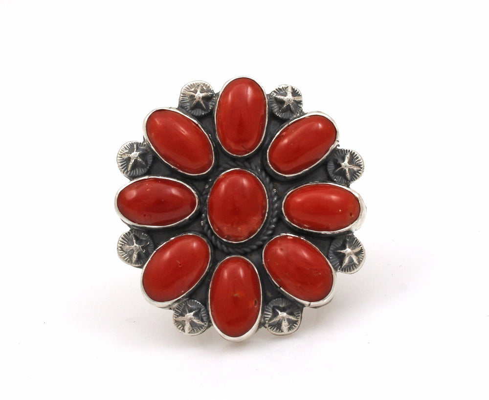 Red Coral Cluster Ring